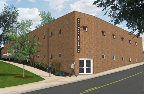 Rendering of restored McDowell Grocery warehouse