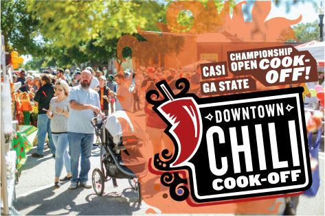 Chili Cook-off logo with crowd at festival