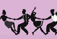 Swing dancing silhouettes.