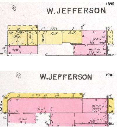 1895 and 1901 Sanborn Fire Insurance Maps of Jefferson Street